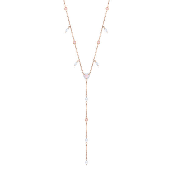 One Y Necklace, Multi-colored, Rose gold plating