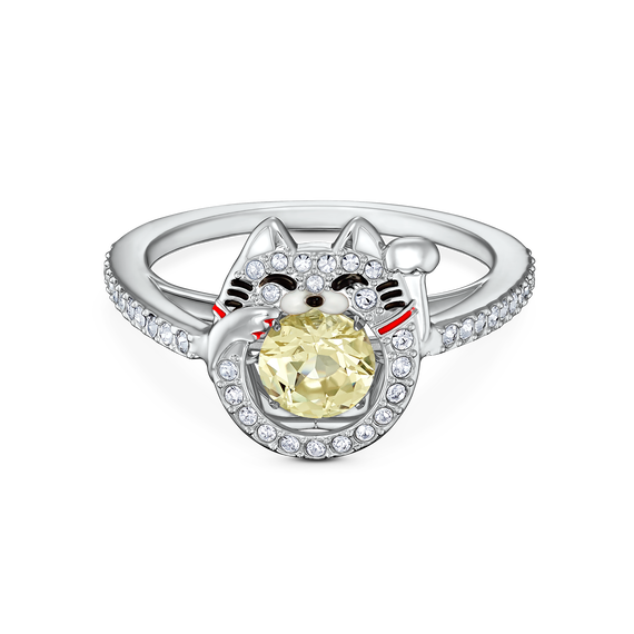 Swarovski Sparkling Dance Cat Ring, Light multi-colored, Rhodium plated
