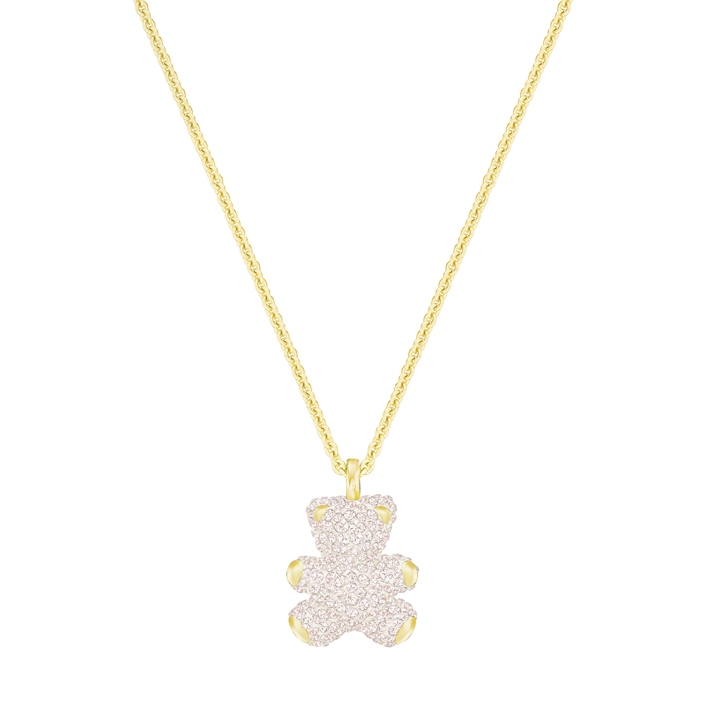 Teddy 3D Pendant, Pink, Gold Plated