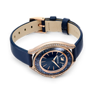 Crystalline Aura Watch, Leather strap, Blue, Rose-gold tone PVD