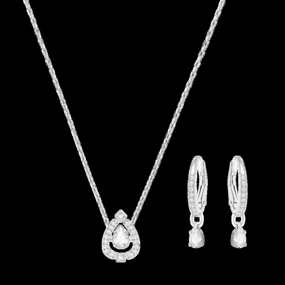 Sparkling Dance Pear Set, Small, White, Rhodium Plating