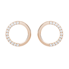 Lucy Pierced Earrings, White, Rose-gold tone plated