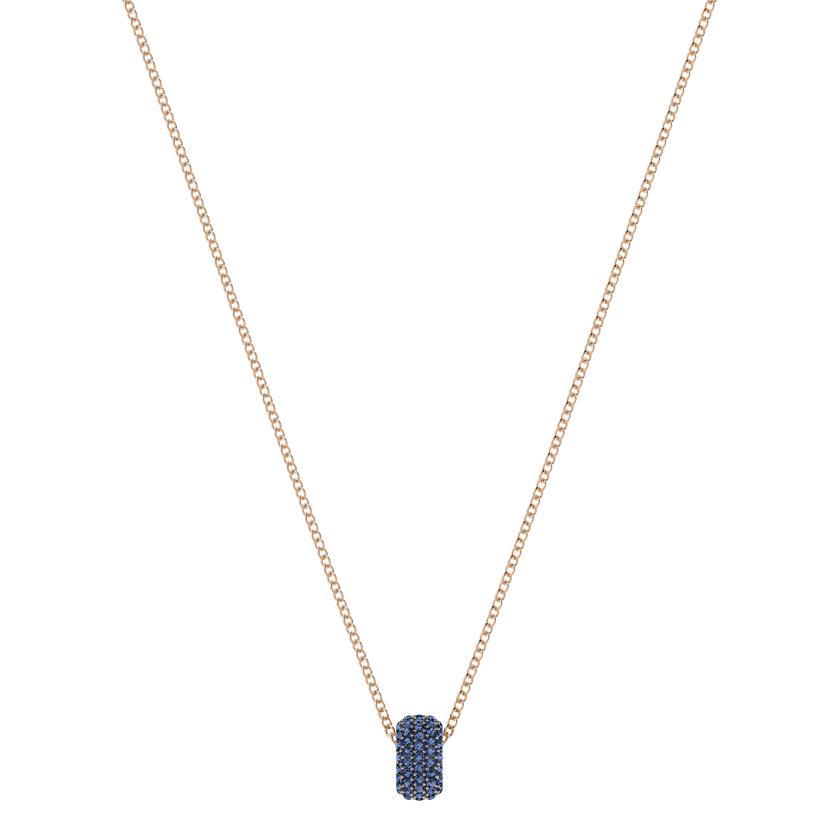 Stone Round Pendant, Blue, Rose Gold Plating