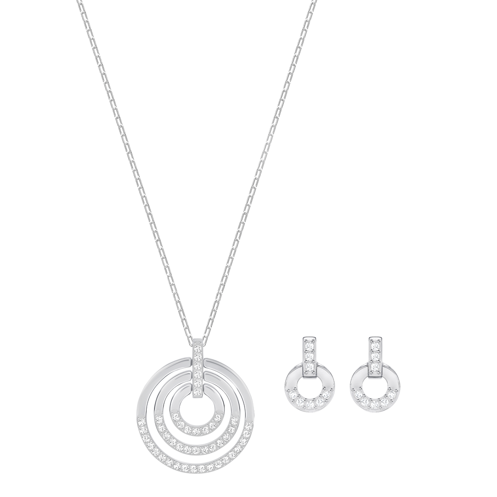 Circle Set, Medium, White, Rhodium plating
