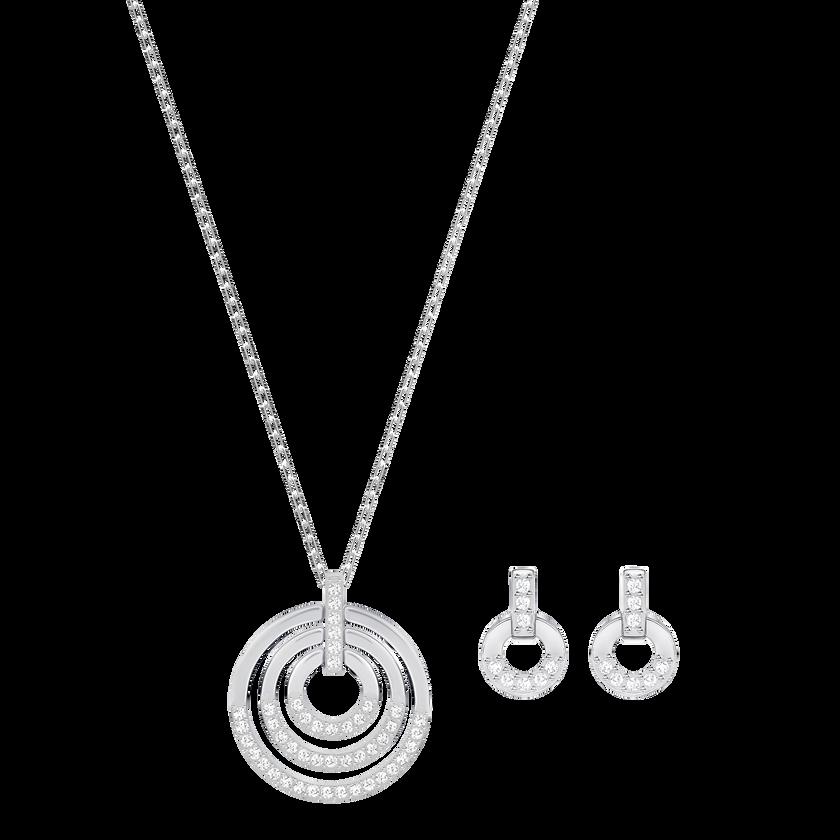Circle Set, Medium, White, Rhodium plating