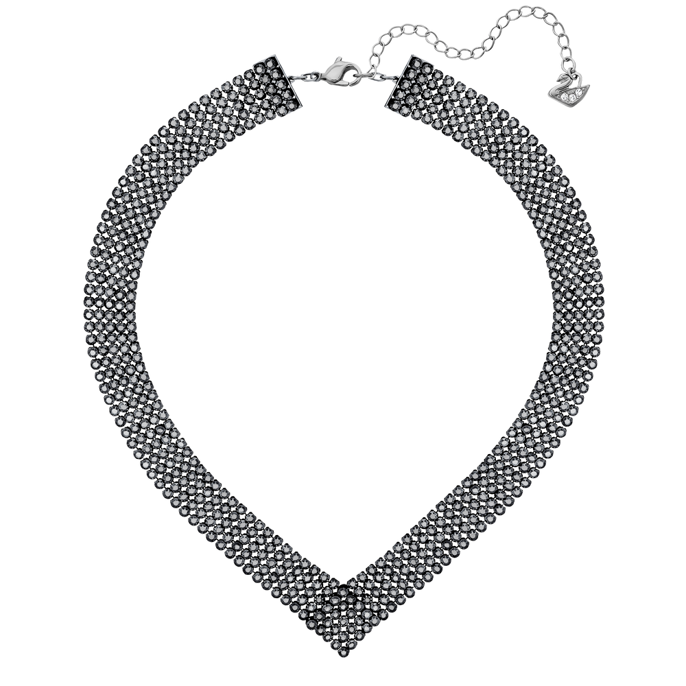 Fit Necklace, V Shaped, Black, Ruthenium Plated