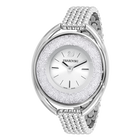 Crystalline Oval Bracelet Watch, White, Stainless Steel