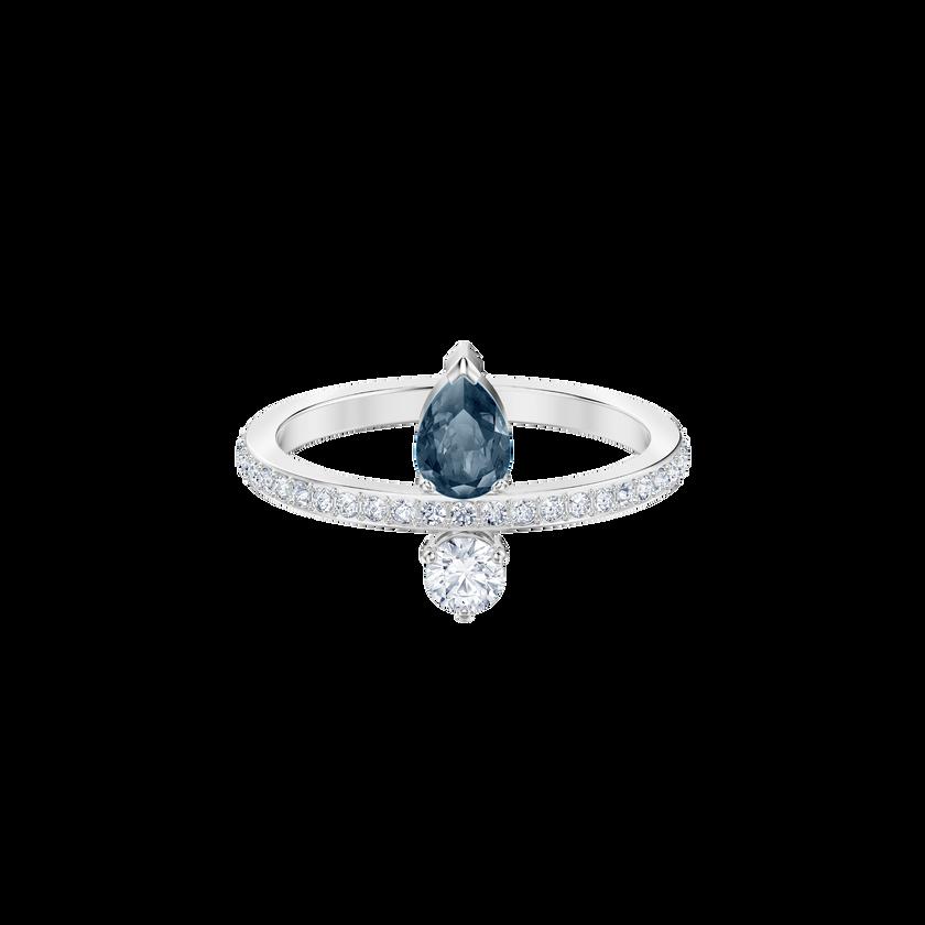 Vintage Ring, Blue, Rhodium plating