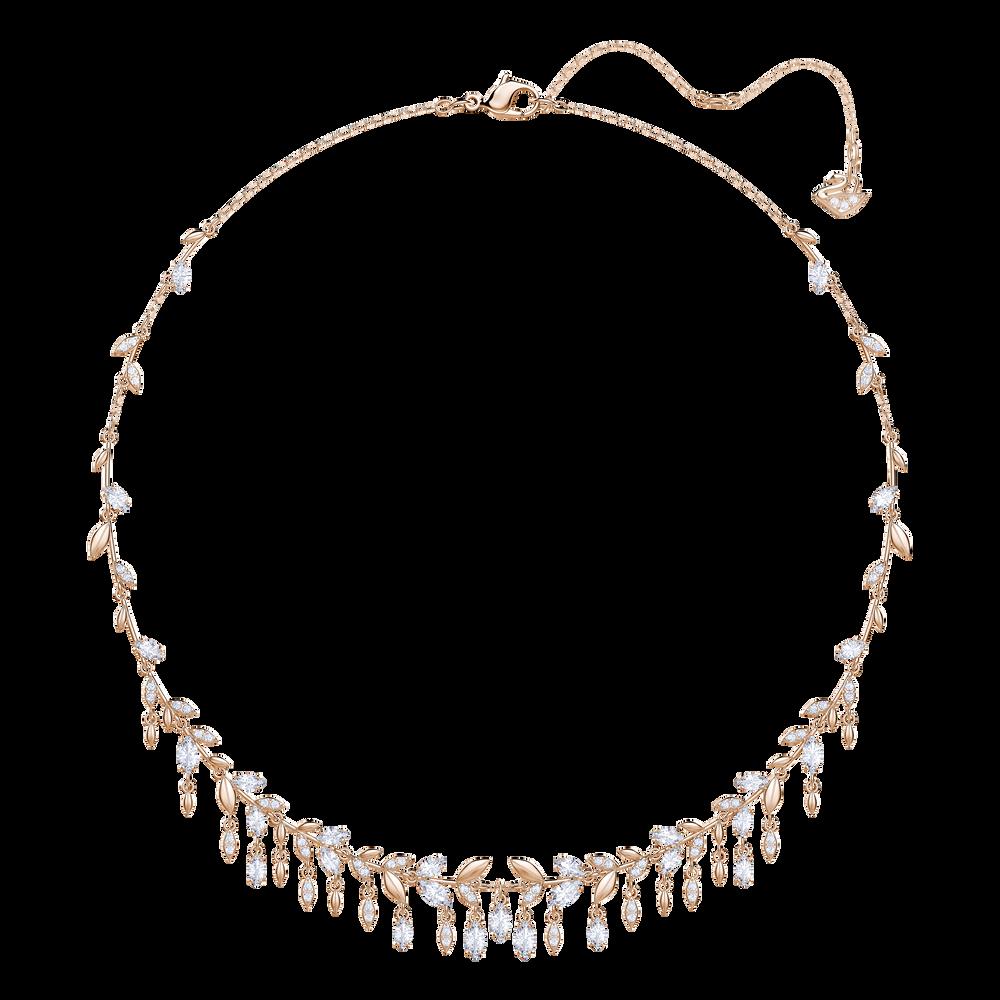 Mayfly Necklace, Large, White, Rose Gold Plating
