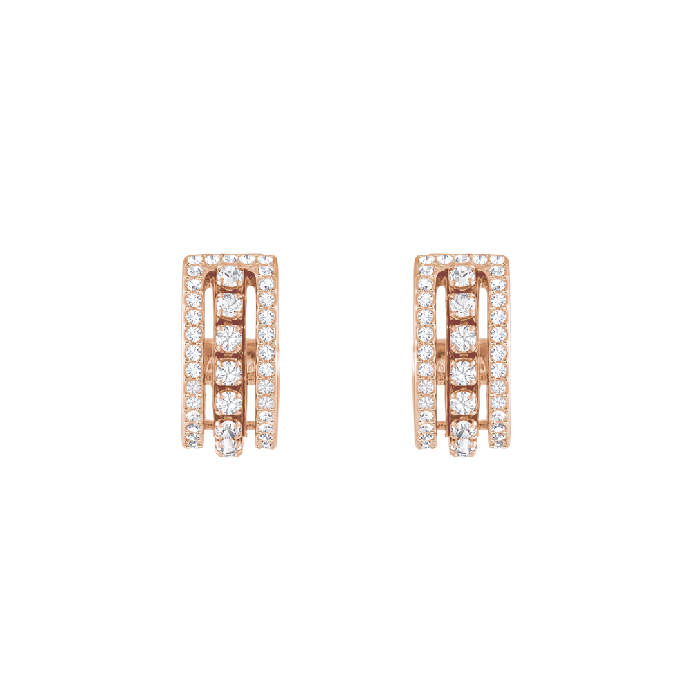 Further Pierced Earrings, White, Rose Gold Plating