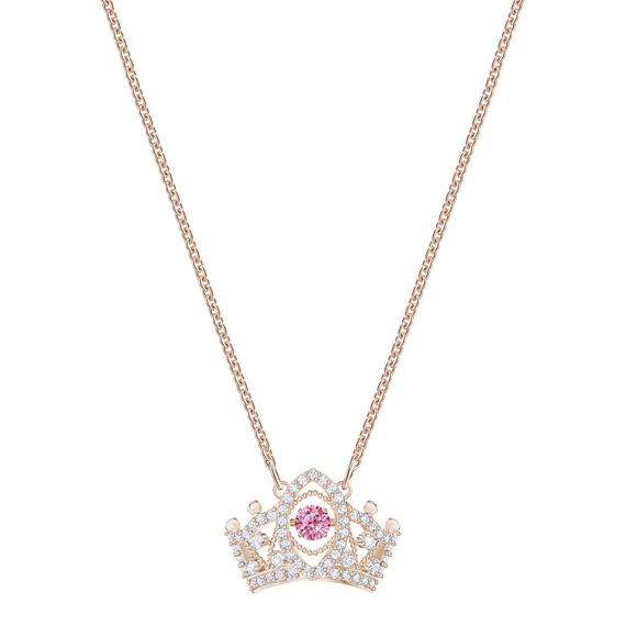 Bee A Queen Pendant, Red, Rose-gold tone plated