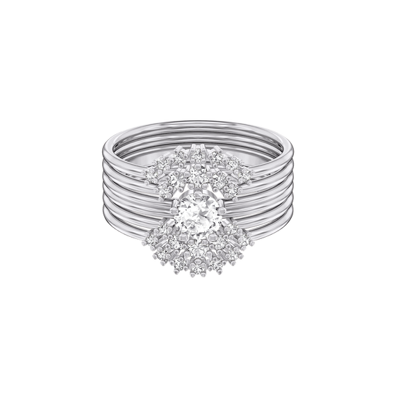 Moonsun Ring Set, White, Rhodium plated