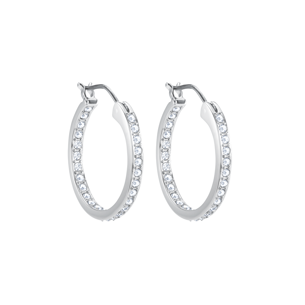 Sommerset Hoop Pierced Earrings, White, Rhodium Plating