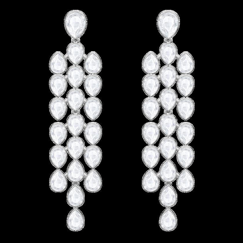 Lake Pear Chandelier Pierced Earrings, White, Rhodium plated