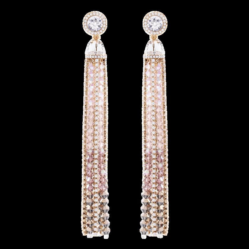 Ocean View Clip Earrings, Multi-colored, Rose gold plating