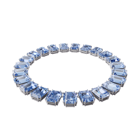 Millenia necklace, Octagon cut crystals, Blue, Rhodium plated