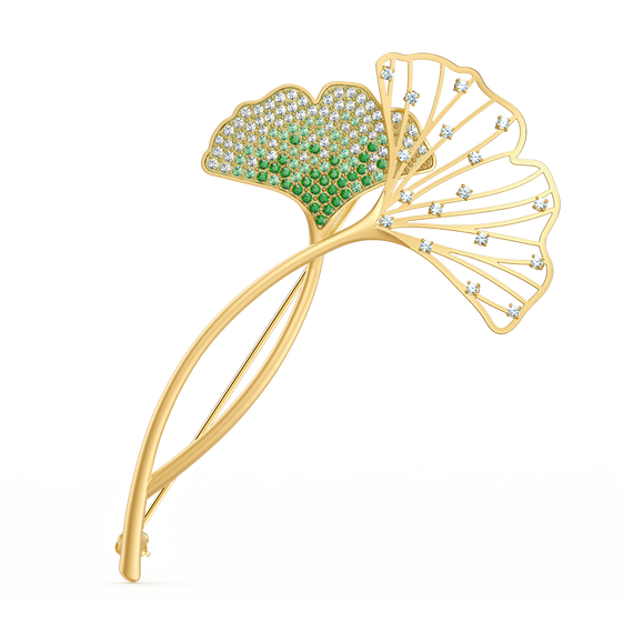Stunning Ginko Brooch, Green, Gold-tone plated