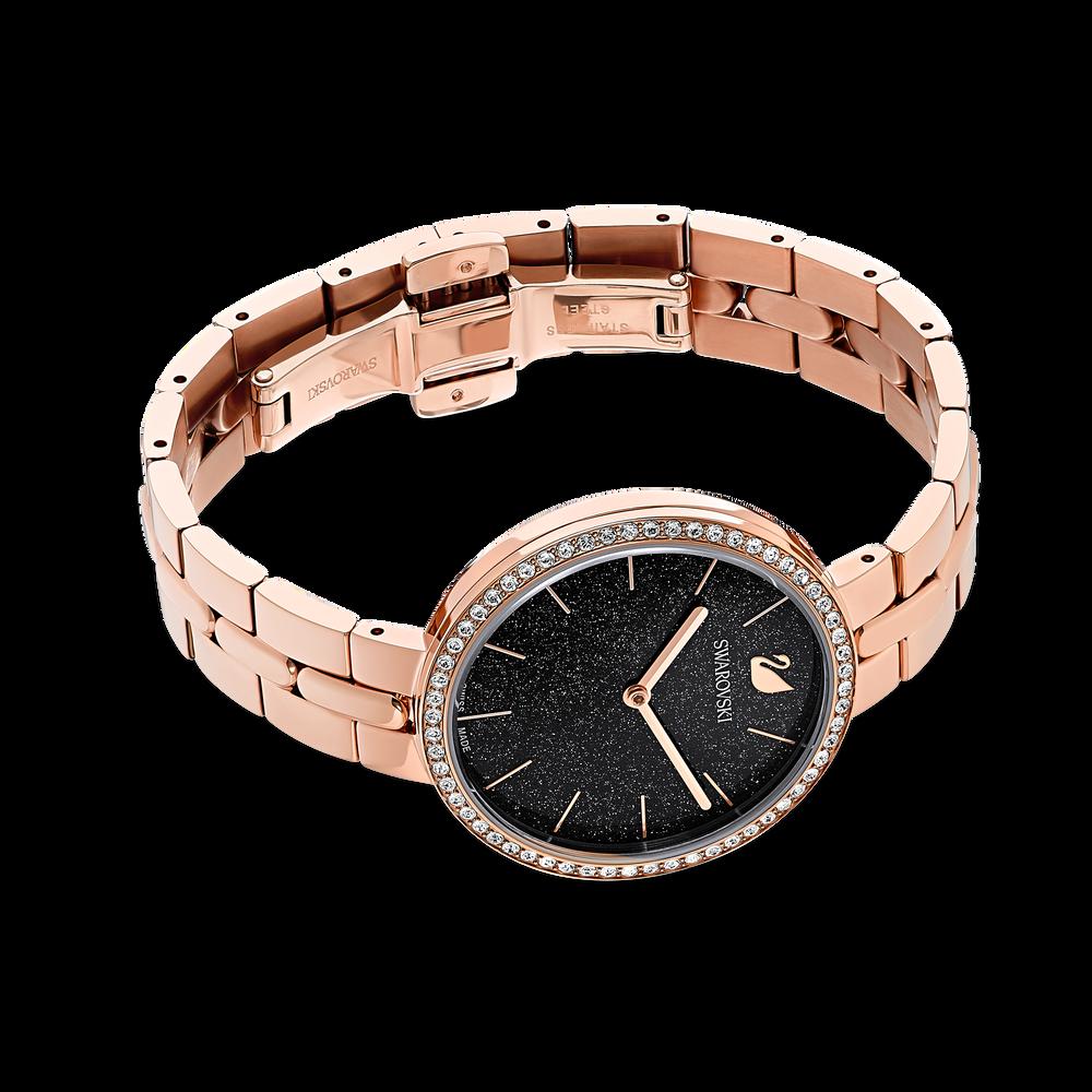 Cosmopolitan Watch, Metal bracelet, Black, Rose-gold tone PVD