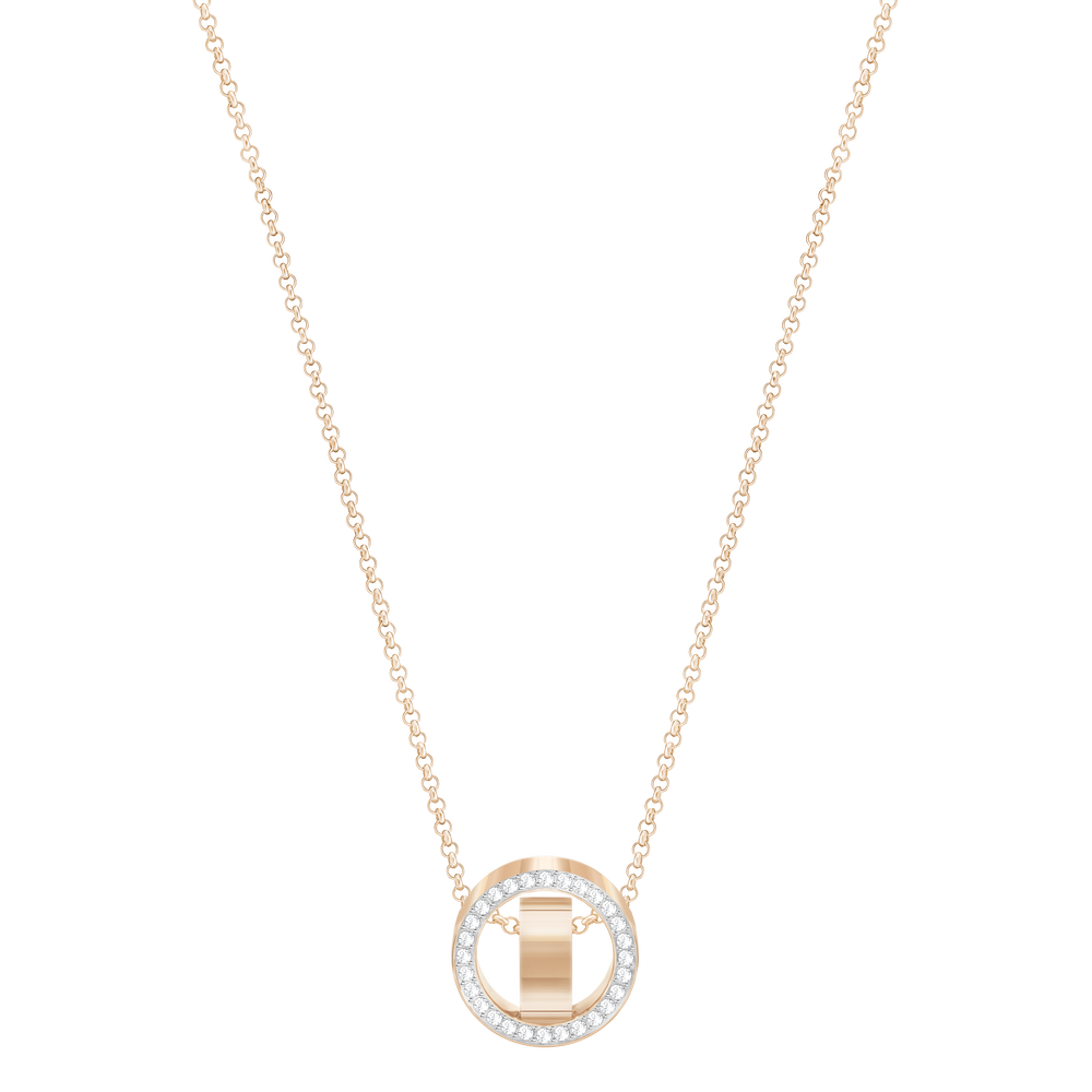 Hollow Pendant, Small, White, Rose Gold Plated