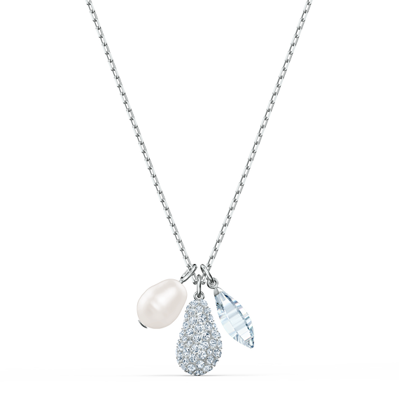 So Cool Cluster Necklace, White, Rhodium plated