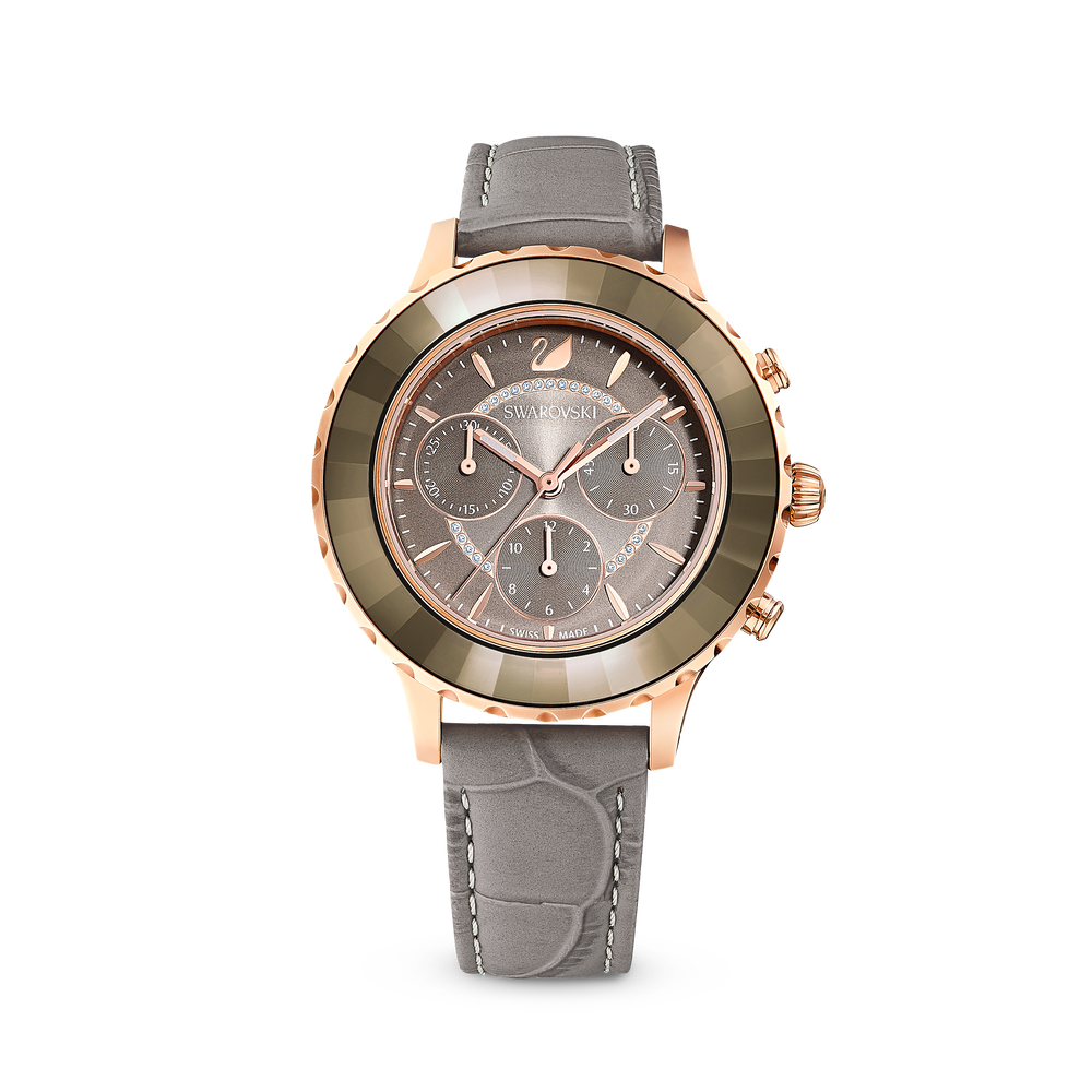 Octea Lux Chrono Watch, Leather Strap, Gray, Rose gold tone