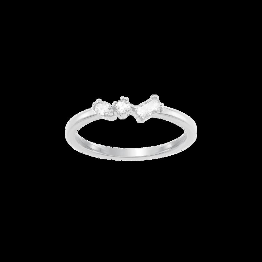 Frisson Ring, White, Rhodium plated