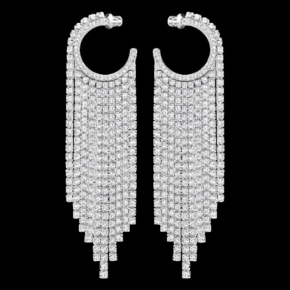 Fit Hoop Pierced Earrings, White, Rhodium Plating