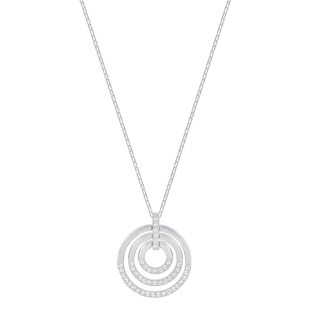 Circle Pendant, Medium, White, Rhodium Plated