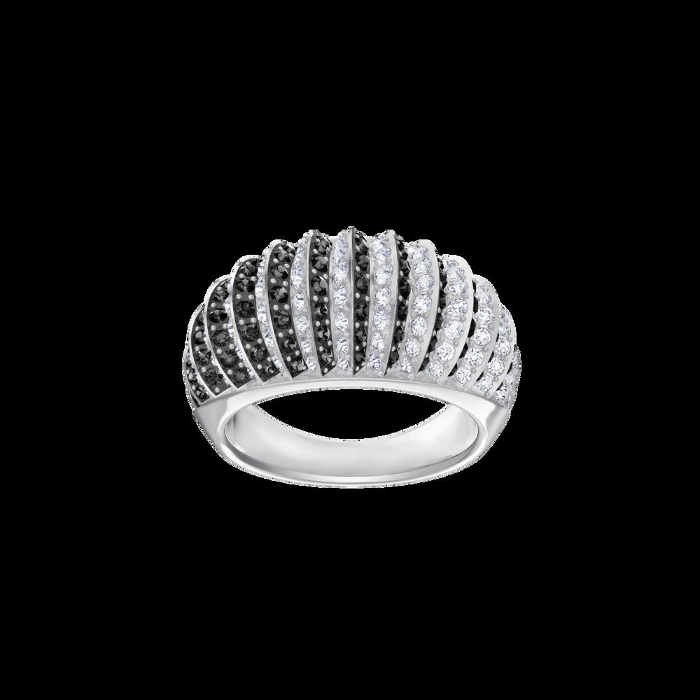 Luxury Domed Ring, Black, Rhodium Plating