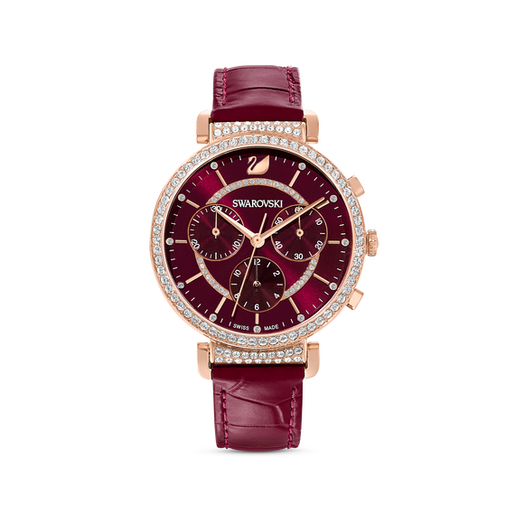 Passage Chrono Watch, Leather strap, Red, Rose-gold tone PVD