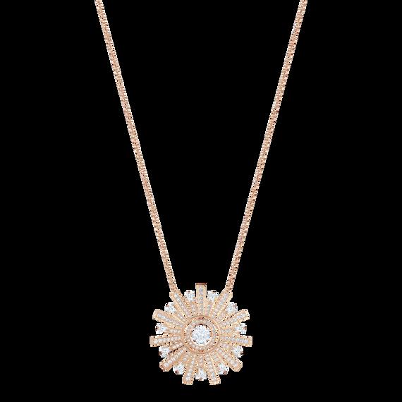 Sunshine Necklace Long, White, Rose gold plating