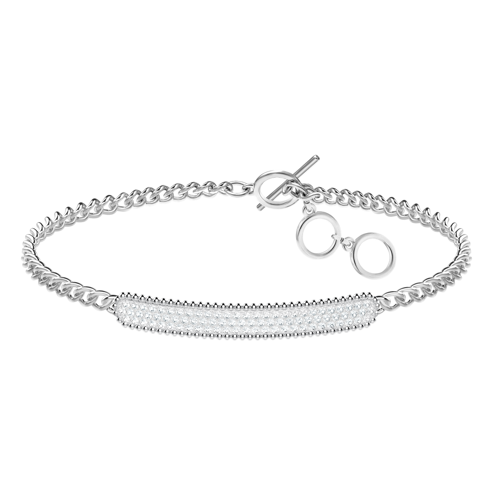 Locket Bracelet, White, Rhodium plated