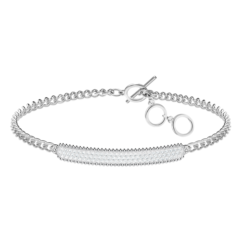 Locket Bracelet, White, Rhodium plated