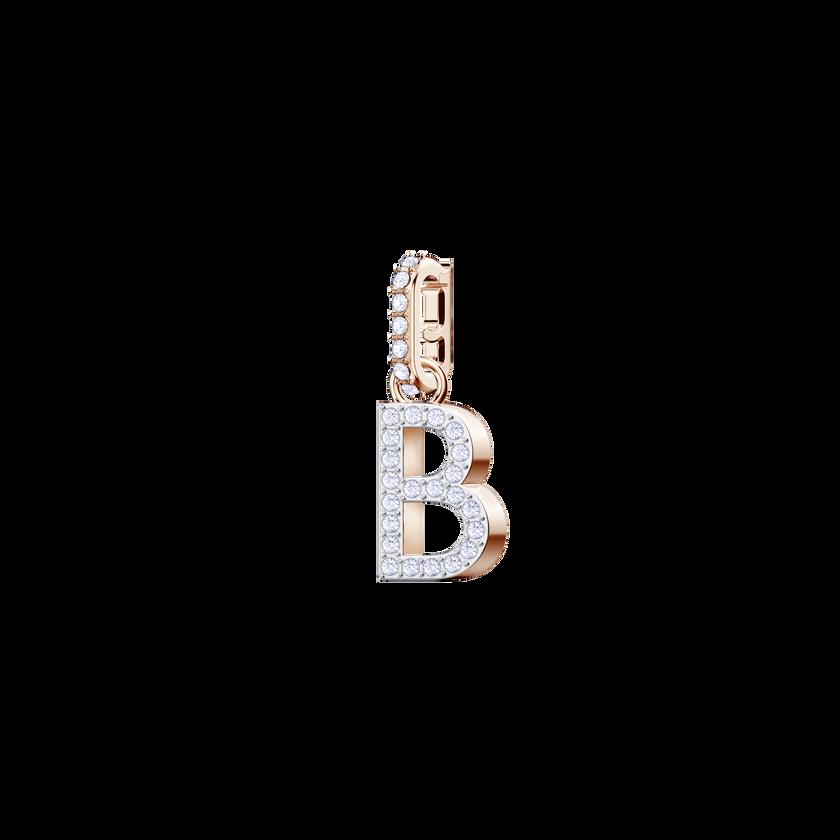 Swarovski Remix Collection Charm B, White, Rose Gold Plating