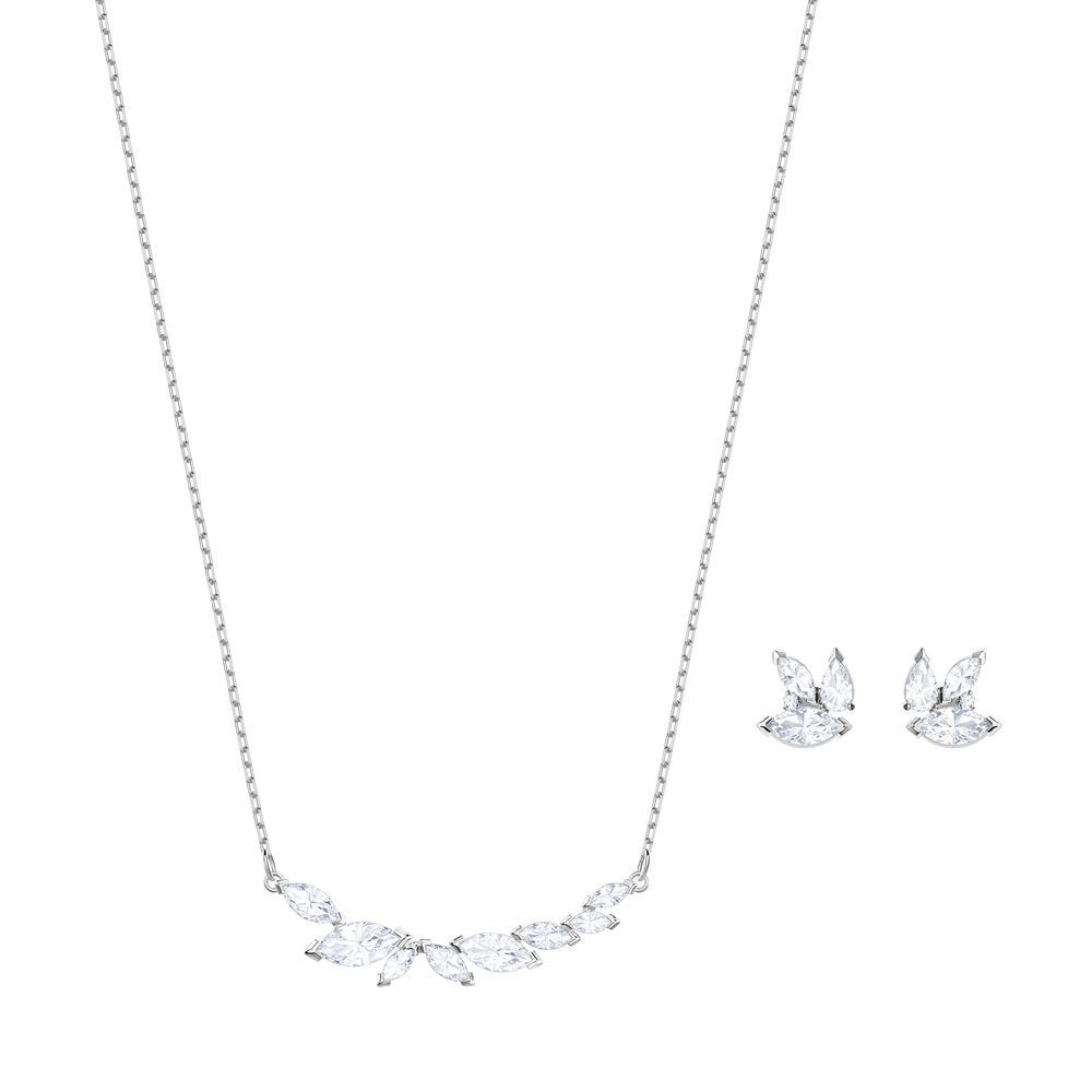 Louison Set, White, Rhodium Plating