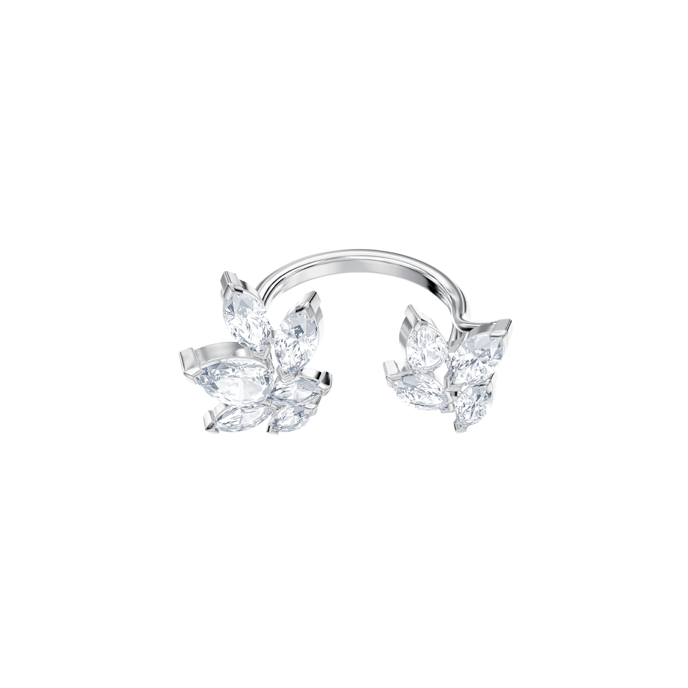 Louison Open Ring, White, Rhodium Plating
