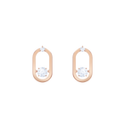 North Pierced Earrings, White, Rose gold plating