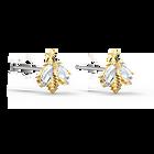 Eternal Flower Bee Pierced Earrings, White, Gold-tone plated