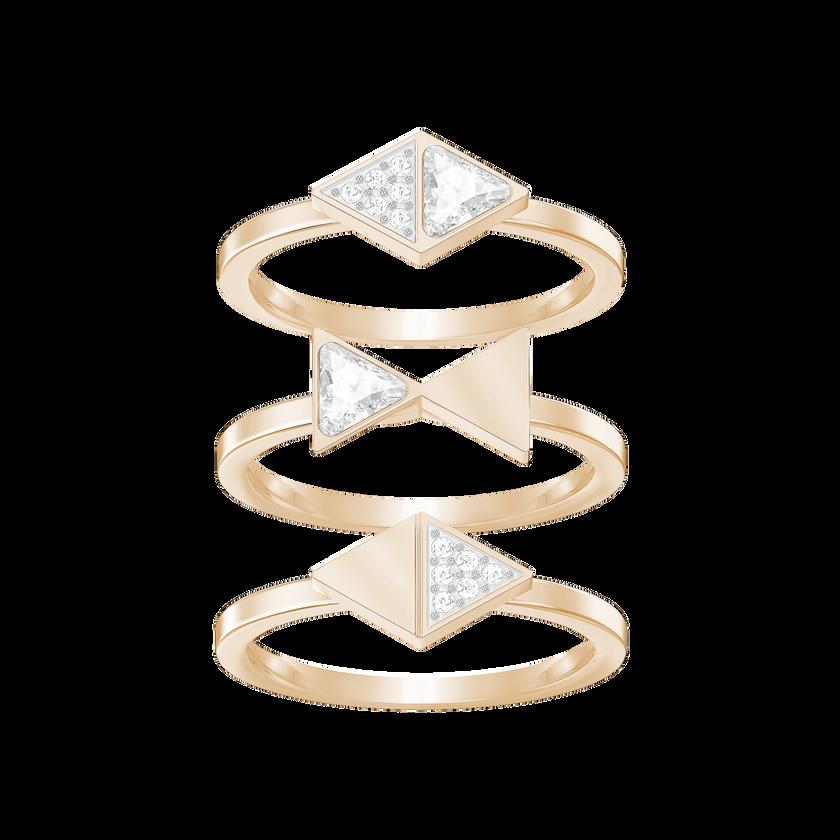 Heroism Ring Set, Medium, White, Rose gold plating
