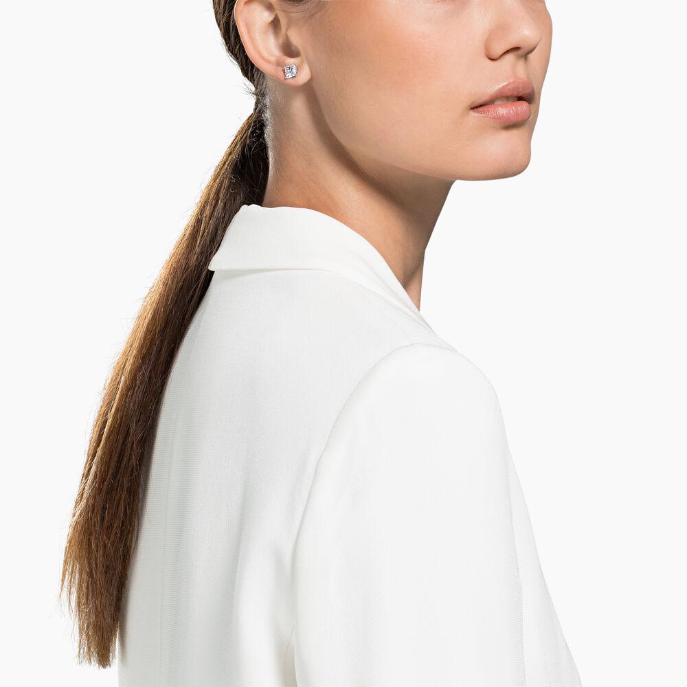 Attract Stud Pierced Earrings, White, Rhodium Plating