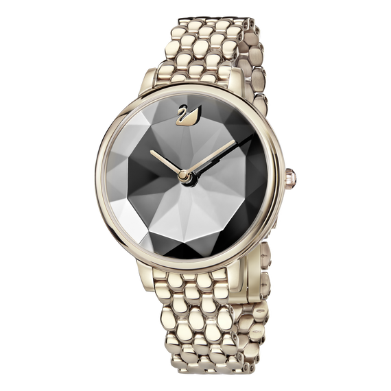 Crystal Lake Watch, Metal Bracelet, Dark Gray, Champagne Gold Tone