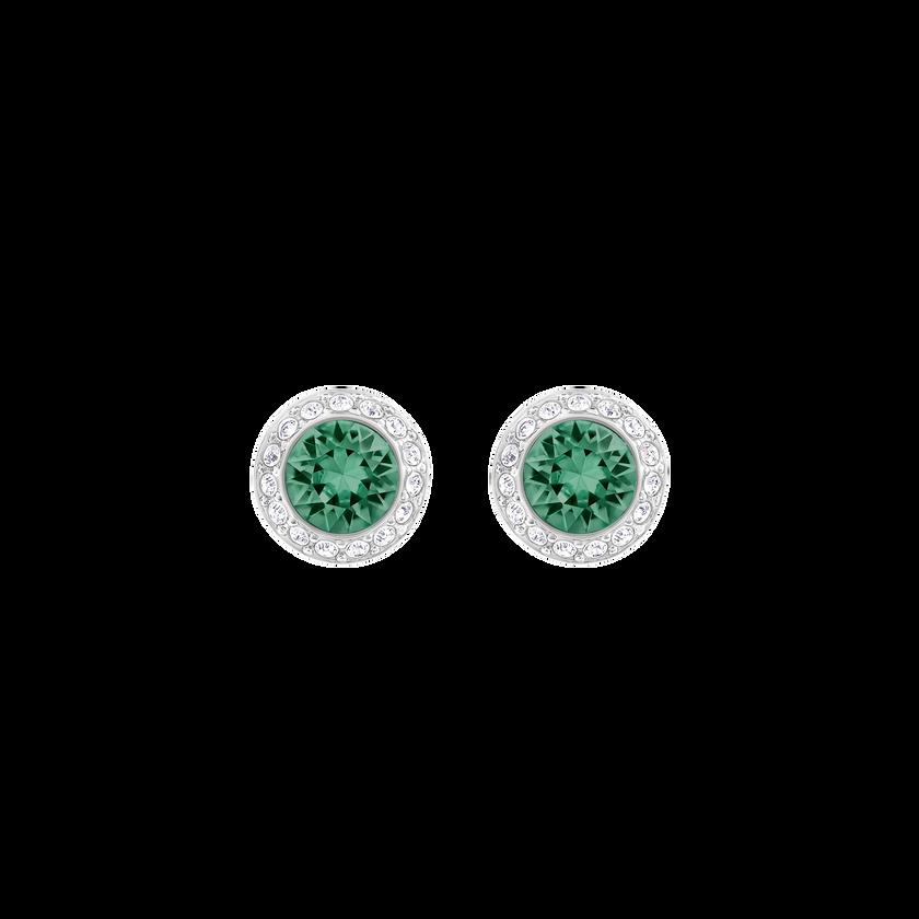 Angelic Pierced Earrings, Green, Rhodium Plating