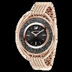 Crystalline Oval Watch, Metal bracelet, Black, Rose gold tone