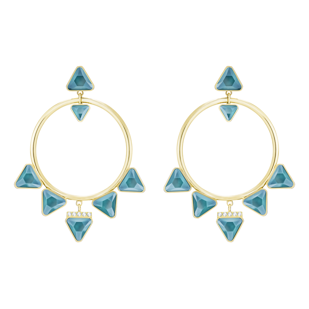 Labyrinth Hoop Pierced Earrings, Multi-colored, gold tone plated