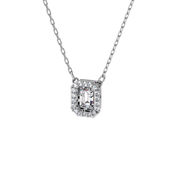 Millenia necklace, Square Swarovski zirconia, White, Rhodium plated