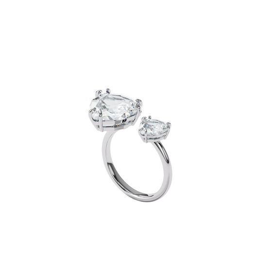 Millenia cocktail ring, Triangle cut crytsals, White, Rhodium plated