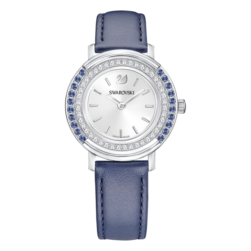 Playful Lady Watch, Leather strap, Blue, Stainless steel