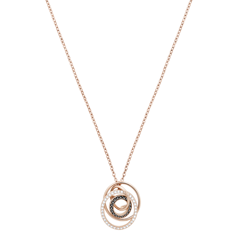 Greeting Ring Pendant, Black, Rose-gold tone plated