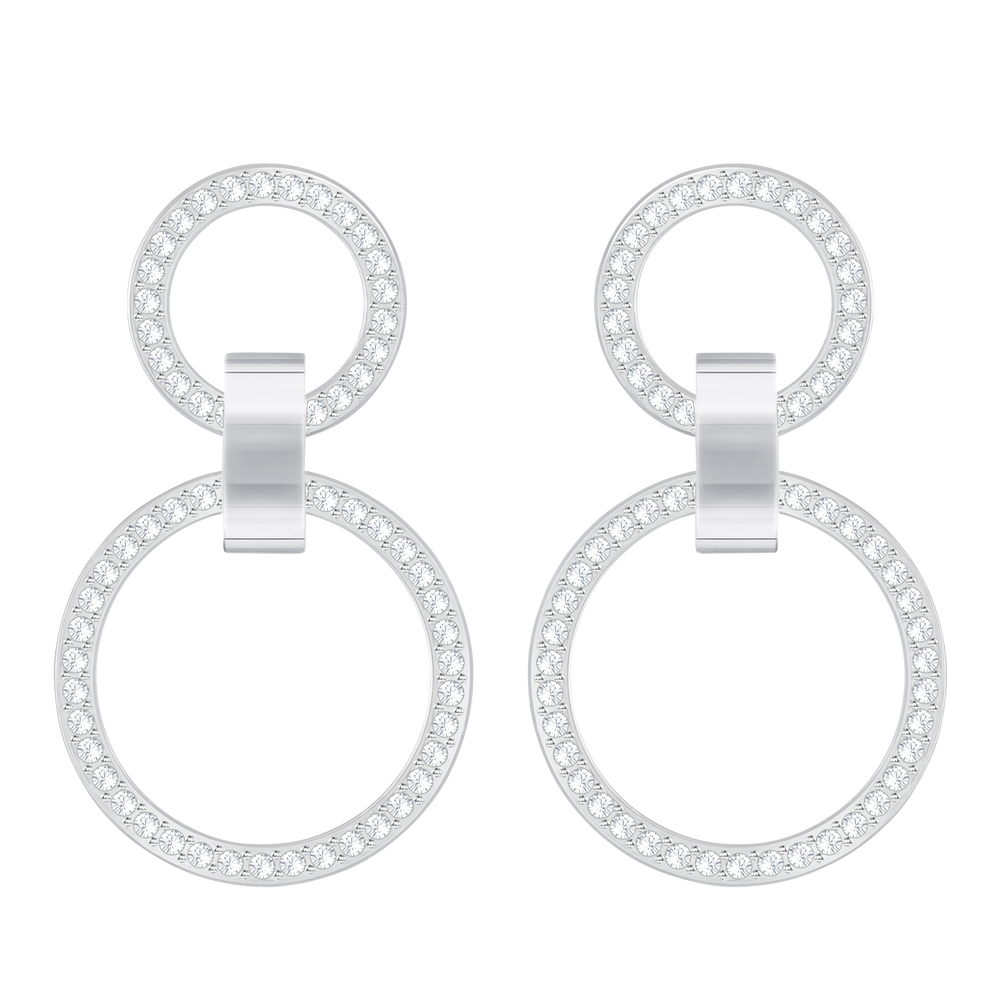 Hollow Pierced Earrings, White, Rhodium Plating