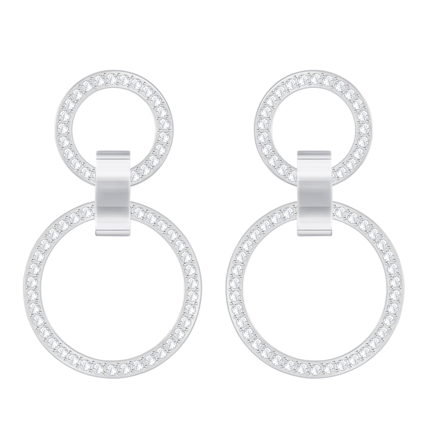 Hollow Pierced Earrings, White, Rhodium Plating